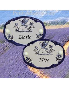 Plaque de porte en faience blanche modèle ovale décor bleu avec inscription texte personnalisée