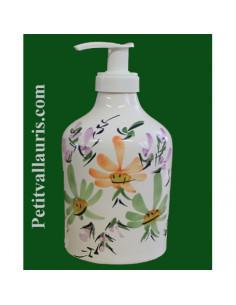 Distributeur de savon liquide décor Fleurs vertes et orangées