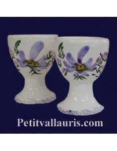 Coquetier individuel décor Fleuri bleu prix unitaire