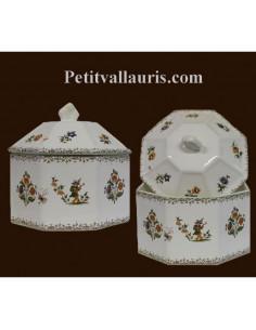 Boîte octogonale décor Tradition Vieux Moustiers polychrome