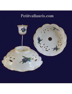 Suspension décorative en céramique ajourée décor Olive bleue D35