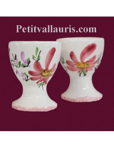 Coquetier décor Fleuri rose Personnalisable Prénom