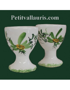 Coquetier individuel décor Fleuri vert prix unitaire