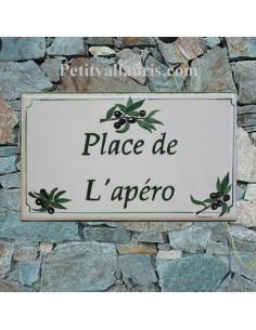 Plaque de Villa rectangle décor branches d'olives noires bord et inscription personnalisés verts
