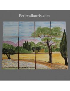 Fresque décor paysage campagne provençale 40 x 30 cm