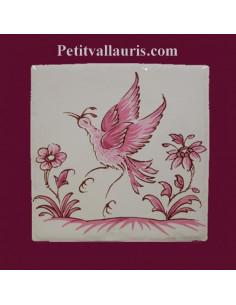 Motif sur carreau décor oiseau (1980) Tradition Vieux Moustiers rose