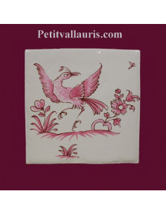 Motif sur carreau décor oiseau (1974) Tradition Vieux Moustiers rose