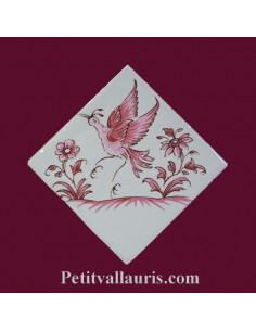 Motif sur carreau décor oiseau (1980) Tradition Vieux Moustiers rose pose diagonale