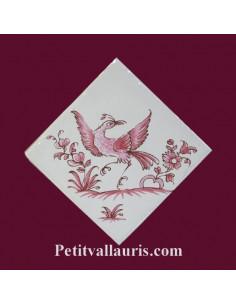 Motif sur carreau décor oiseau (1974) Tradition Vieux Moustiers rose pose diagonale