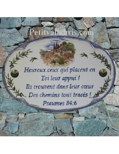 Plaque pour maison ovale en céramique décor cabanon et Oliviers bord et inscription bleue