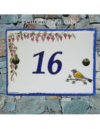 plaque pour maison céramique personnalisée décor glycines et mésange