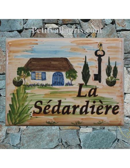 plaque de villa en céramique émaillée d'après un dessin fournit par le client
