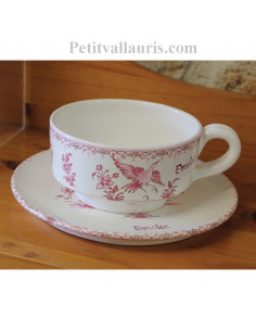 Tasse et sous tasse décor Tradition Vieux Moustiers rose