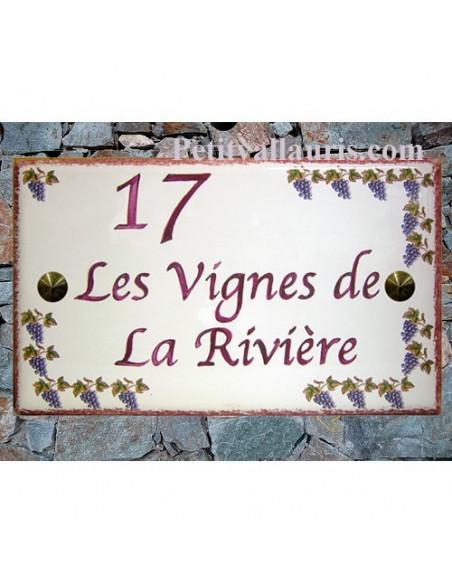 Plaque de Maison rectangle en céramique émaillée décor treille grappes de raisin + inscription personnalisée