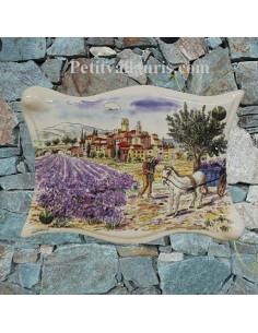 Plaque modèle parchemin décorative récolte des lavandes