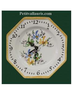 Horloge octogonale en faïence décor Fleurs bleues,jaunes et vertes
