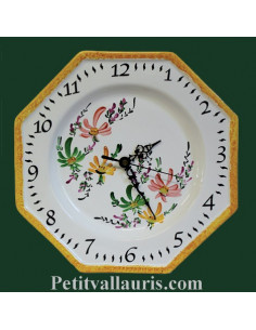 Horloge octogonale en faïence décor Fleurs beiges,jaunes et vertes