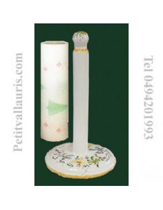Dérouleur de papier essuie-tout décor fleuri vert, jaune et bleu