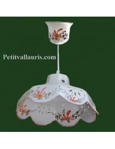 Suspension céramique facette décor Fleuri rouge coquelicot