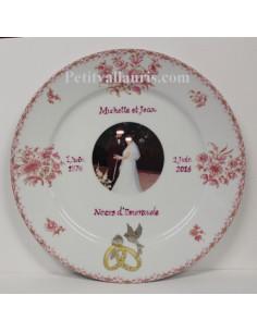 Assiette anniversaire de Mariage en porcelaine avec photo décor tradition vieux moustiers rose