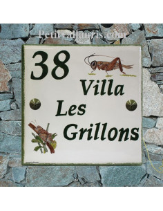 Plaque pour votre maison texte et décor personnalisé modèle les grillons