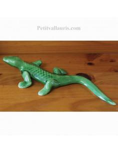 Lézard vert en céramique à suspendre petit modèle coloris vert uni