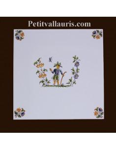 Carreau décor 3908 polychrome Tradition Vieux Moustiers