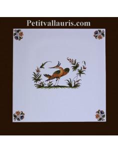 Carreau décor 3909 polychrome Tradition Vieux Moustiers