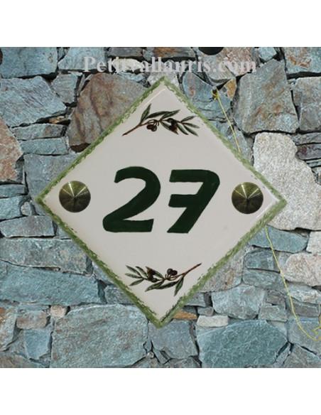 Numéro de maison décor brins d'olives vertes pose diagonale