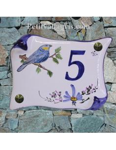Plaque de Maison parchemin décor personnalisé mésange bleue inscription bleue fleurs bleue