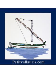 Carrelage mural 20 x 20 cm décor bateau pointu II