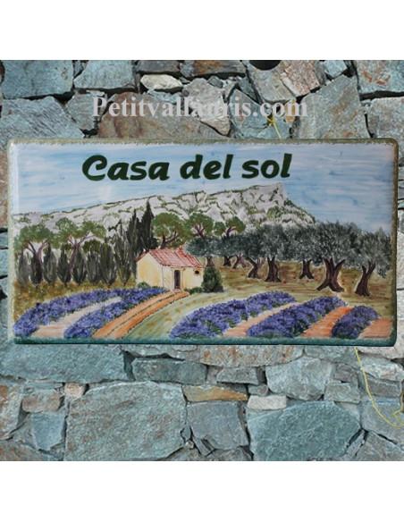 Plaque de Villa rectangle décor personnalisé le coudon face-sud inscription personnalisée verte