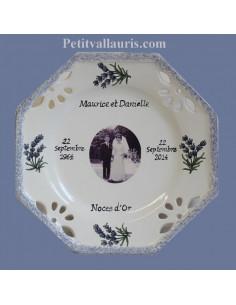 Assiette de Mariage modèle octogonale avec photo décor lavandes