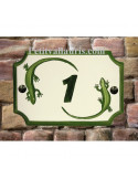Plaque de Maison rectangle décor et texte personnalisés salamandres-lézard inscription et bord verts