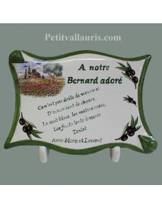 Plaque funéraire personnalisée en céramique décor motif paysage campagne provençale et olives noires