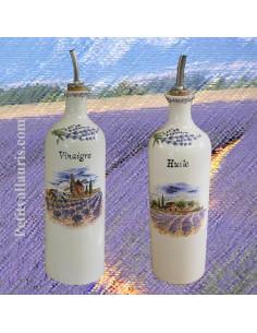 bouteille en faïence pour l'huile d'olive décor paysage champs de lavandes