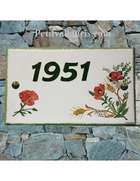 Plaque rectangulaire pour maison en céramique émaillée décor motif artisanal bouquet fleurs-coquelicots + personnalisation