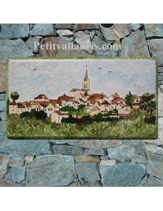 Plaque de Maison rectangle décor personnalisé petit village du lot