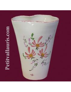 Vase Glaïeul en faïence décor Fleuri rose 25 cm
