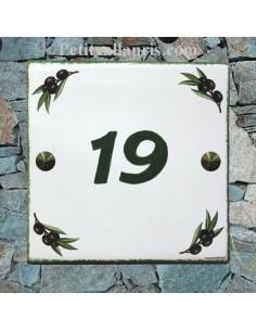 Plaque personnalisée nom pour votre maison décor brins d'olivier fond blanc inscription verte