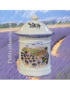 Pot à épices ou à condiments décor motif paysage provençal récolte des lavandes