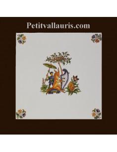Carreau décor 3913 polychrome Tradition Vieux Moustiers