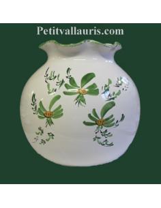 Vase boule dentelle décor Fleuri vert