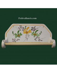 Dérouleur de papier essuie-tout mural en faience décor artisanal fleurs vertes et jaunes