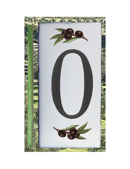 Numero de rue chiffre 0 décor brins d'olives