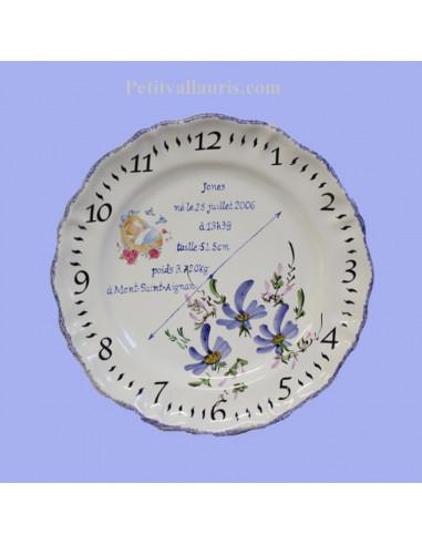 Assiette de naissance Louis XV décor Fleur bleue