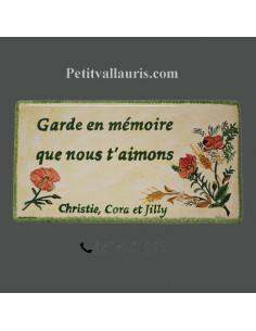 Plaque funéraire en céramique décor coquelicots et brin de blé inscription personnalisée
