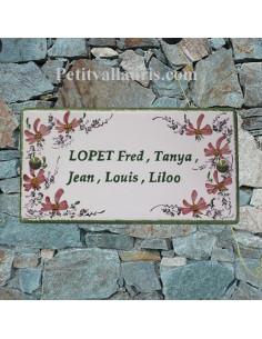 Plaque pour maison en céramique décor Fleurs roses