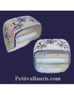Dérouleur de papier toilette décor fleuri bleu NM