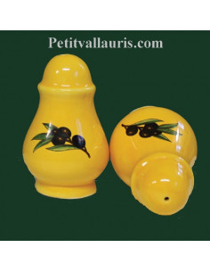Poivrière ronde sur fond jaune à l'unité